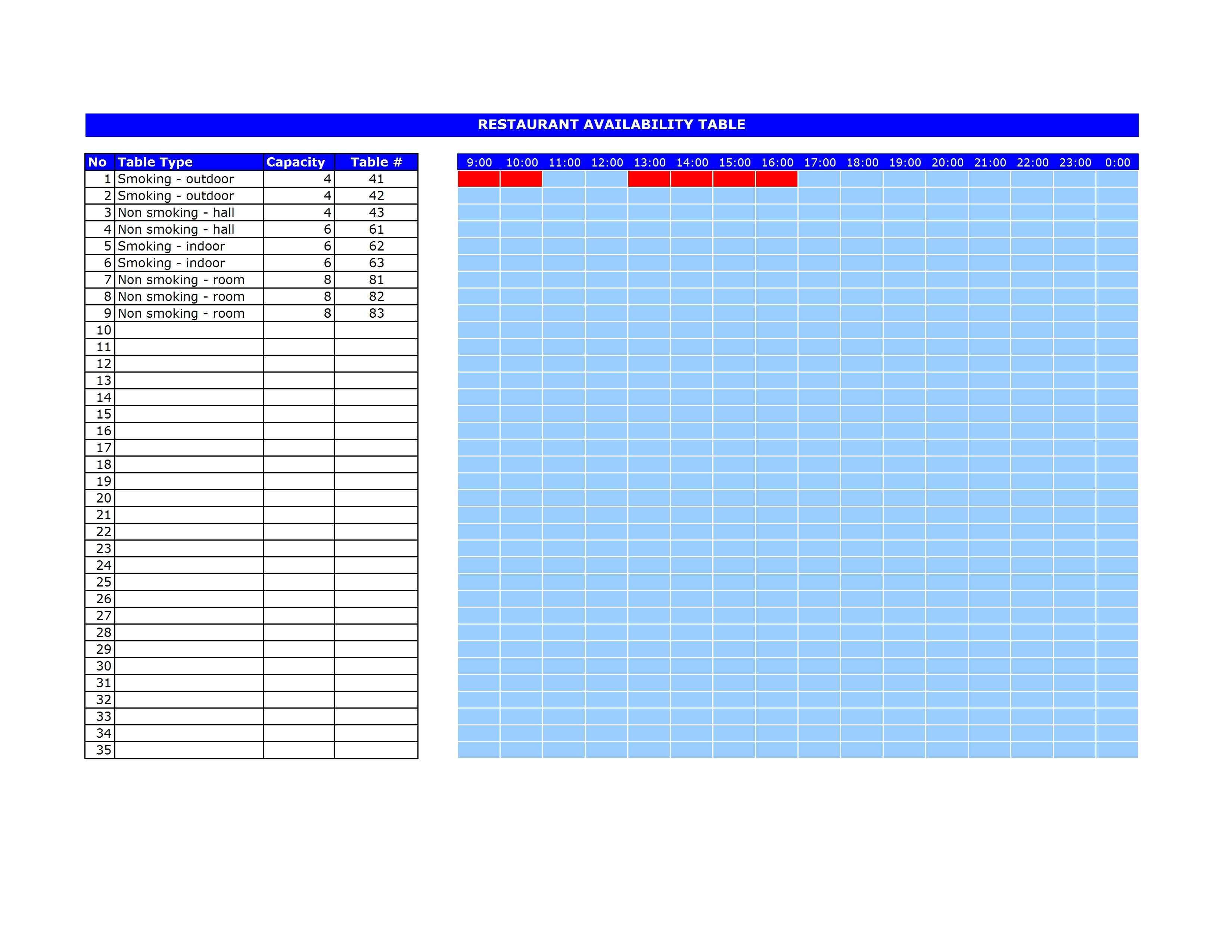 reservation sheet template