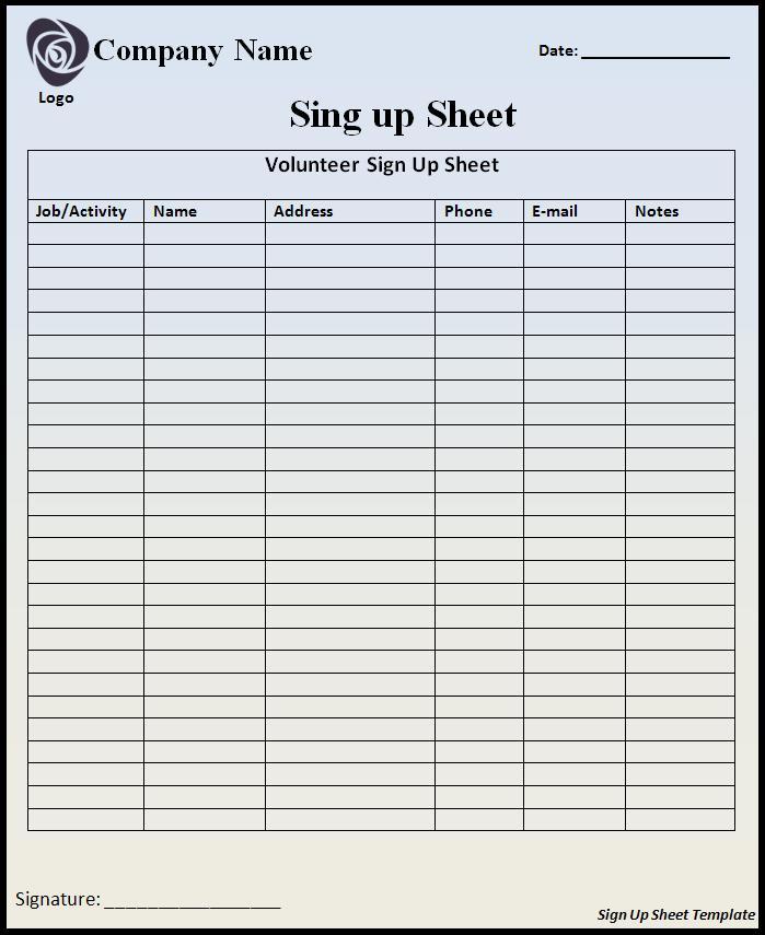 Sample Sign Up Sheet charlotte clergy coalition