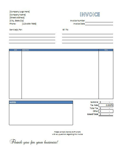 Service Invoice Template Word Download Free charlotte clergy coalition