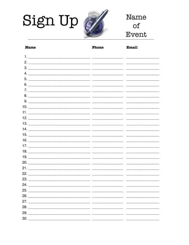 Sign Up Sheet Template Free charlotte clergy coalition - how to make a sign in sheet in word