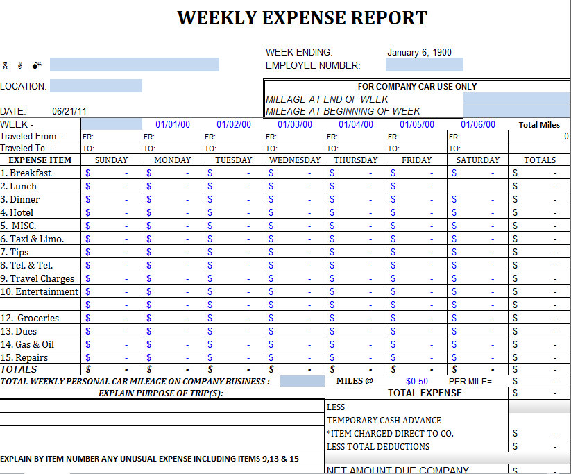 Small Business Expense Report charlotte clergy coalition - expense sheet