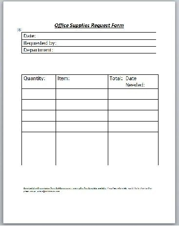 office supplies request form template free - Canasbergdorfbib