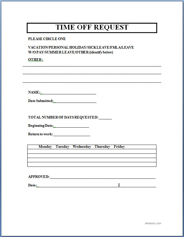 Time Off Request Form Template Microsoft charlotte clergy coalition - request for information forms template
