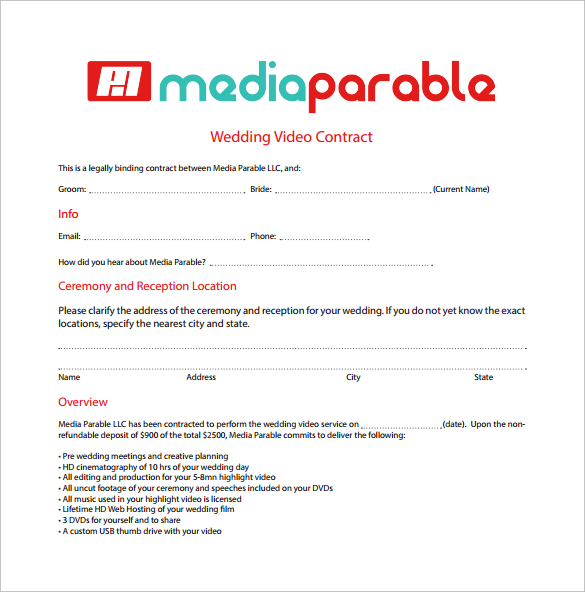 Videography Contract Template Free Charlotte Clergy