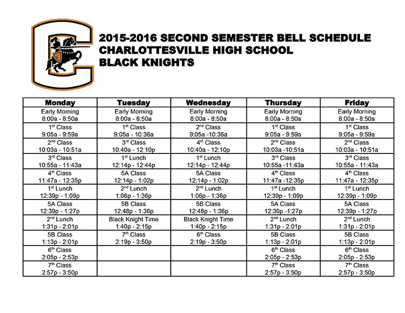CHS Hours and Bell Schedule Charlottesville City Schools