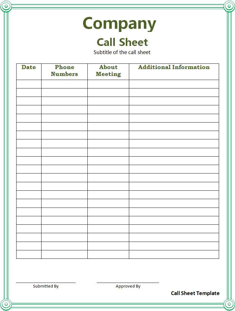 daily assignment sheet template