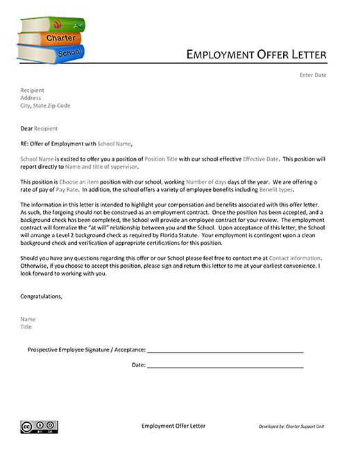 Employment Offer Letter Charter Support Unit