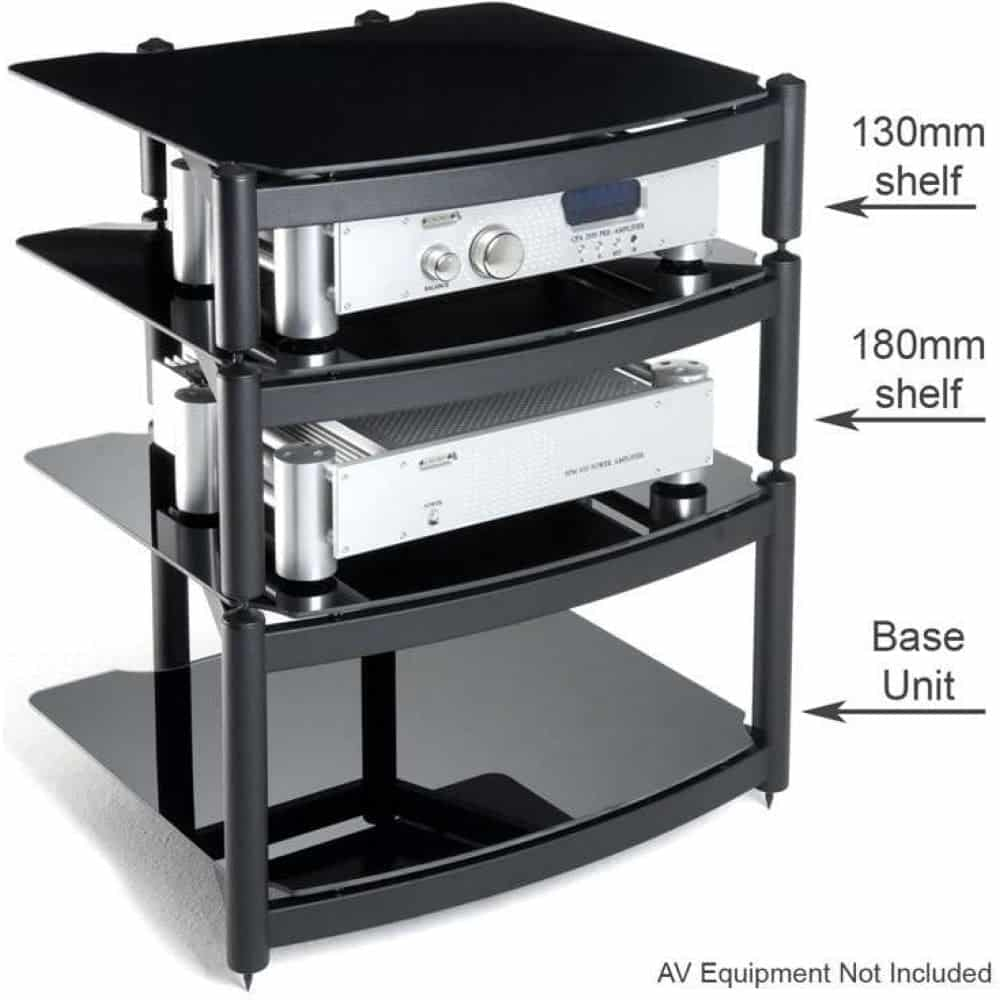 Hifi Rack Design Atacama Equinox Hi Fi Stand 3 Shelf Unit Black