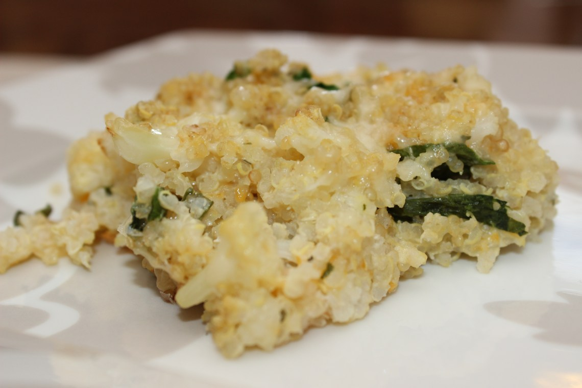 Cheesy Quinoa Cauliflower Casserole - Chasing My Halo