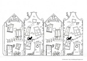 Coloriage maison for Dessin maison 3d