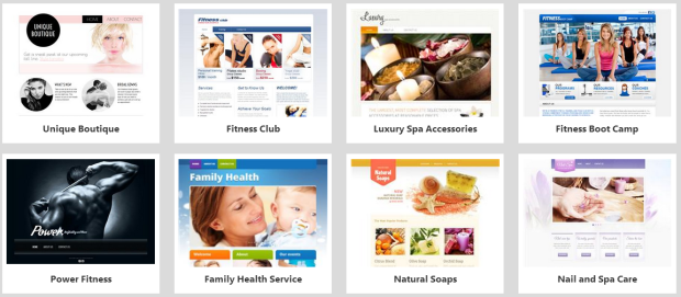 website builder health and fitness templates