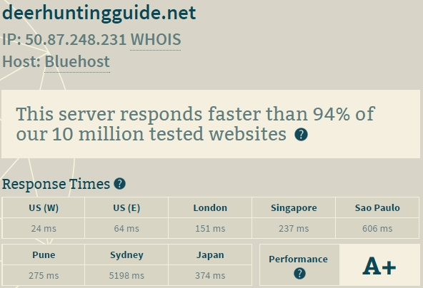 bluehost server performance test
