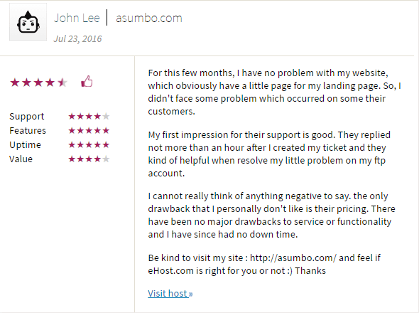 ehost customer review