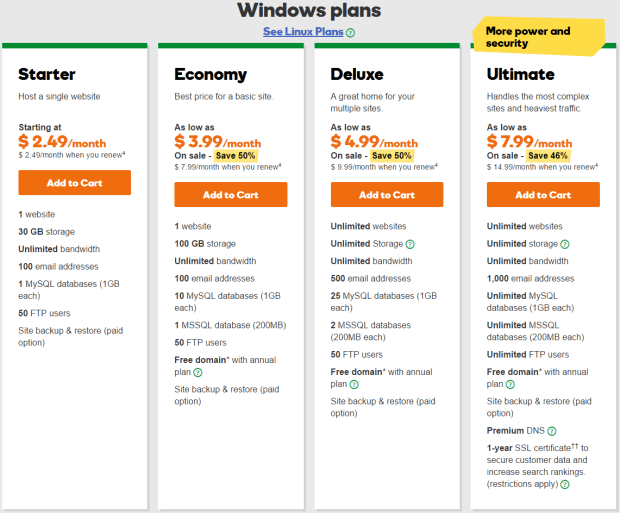 Godaddy Windows Web Hosting Plans