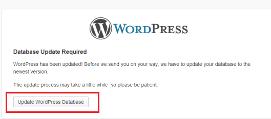 WordPress Database update required notice