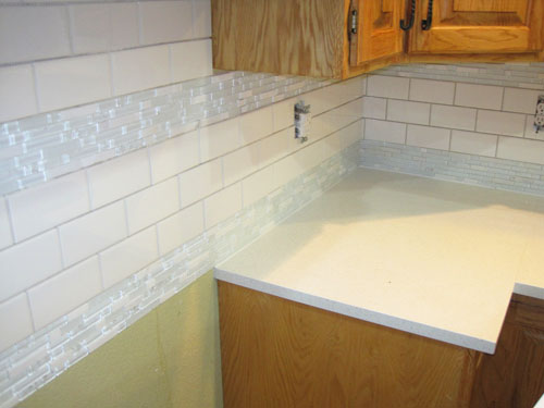 Mosaic And Subway Tile Backsplash Before Grout Cheapest