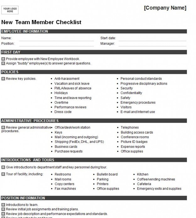 Sample New Hire Checklist Template Sample New Employee Orientation