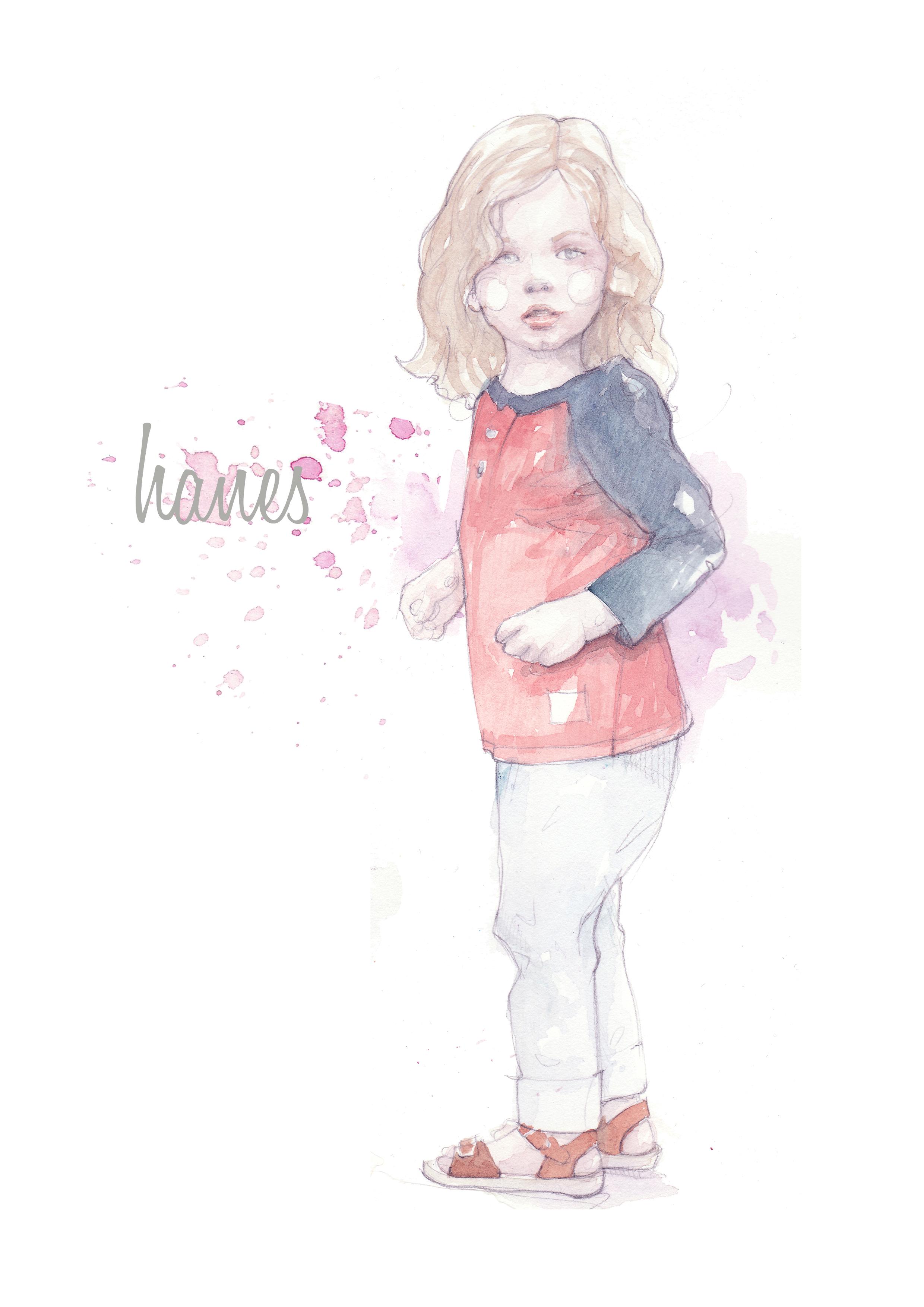 Cute Little Girl Cartoon Wallpaper Watercolor Illustration Kids Pinodesk