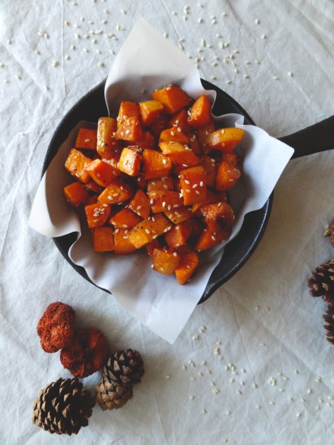Sesame roasted Sweet Potatoes via The CheerfulKitchen