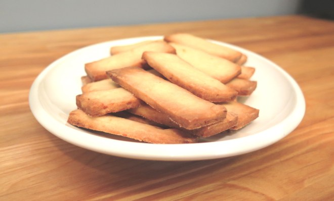 Finished shortbread on a plate.