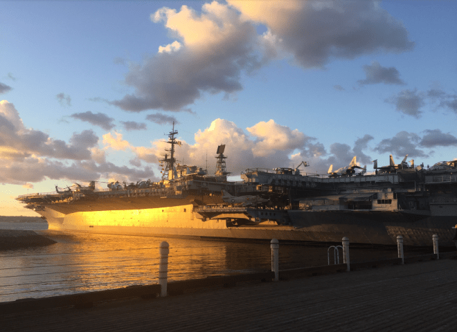 Walking past a spectacular sunset at the USS Midway  @USS Midway Museum