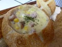 Corn Chowder in Boule  Delicioso