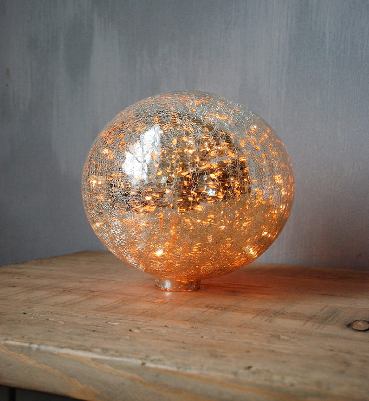Lampe Ball Table Lamp Ball 20cm Crackle Silver Glass 9554 Chehoma