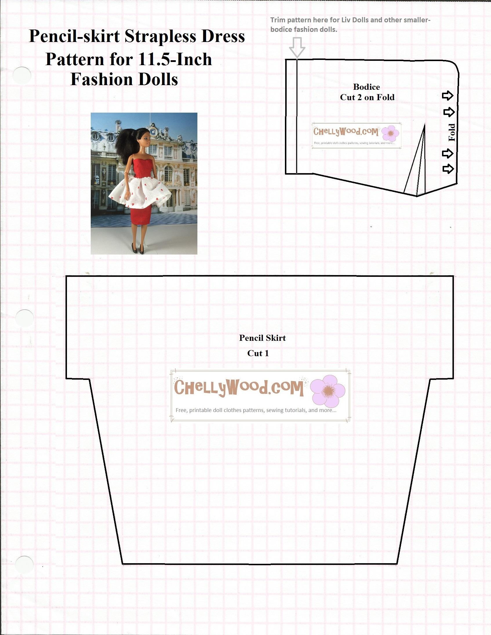 dress pattern for fashion dolls