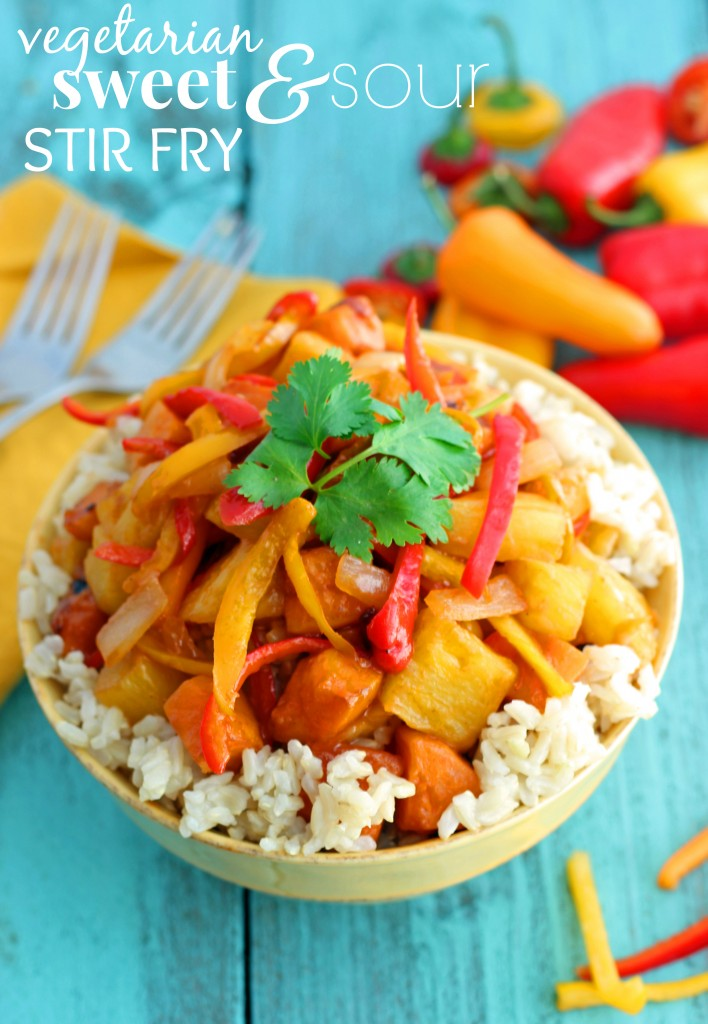 A healthy vegetarian sweet and sour stir fry from Chelsea's Messy Apron