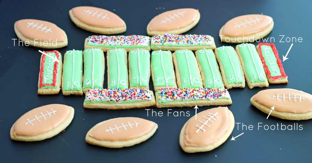 Superbowl Sunday Sugar Cookie Football Field