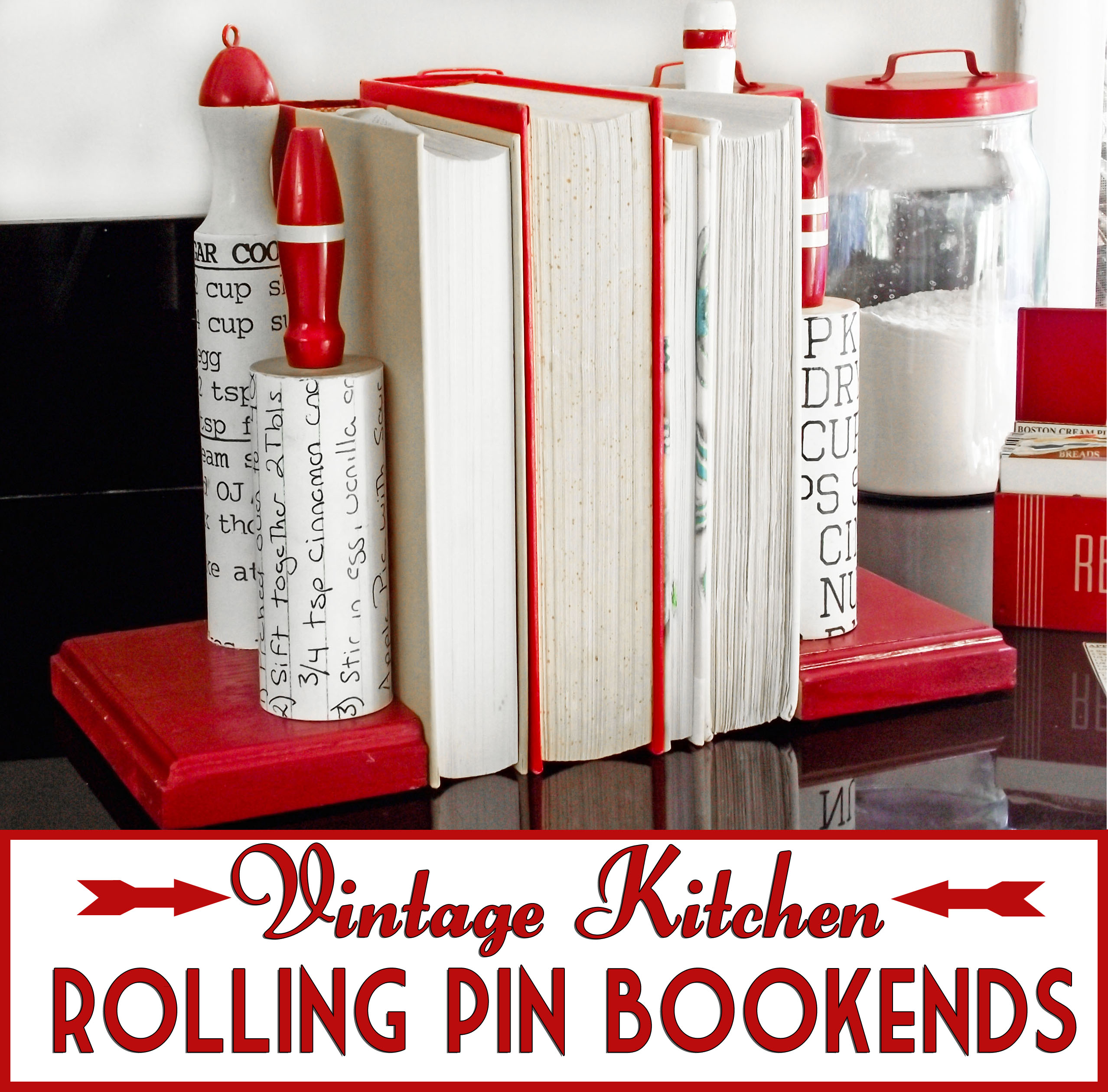 Kitchen Bookends Vintage Rolling Pin Bookends Tutorial Cheltenhamroad