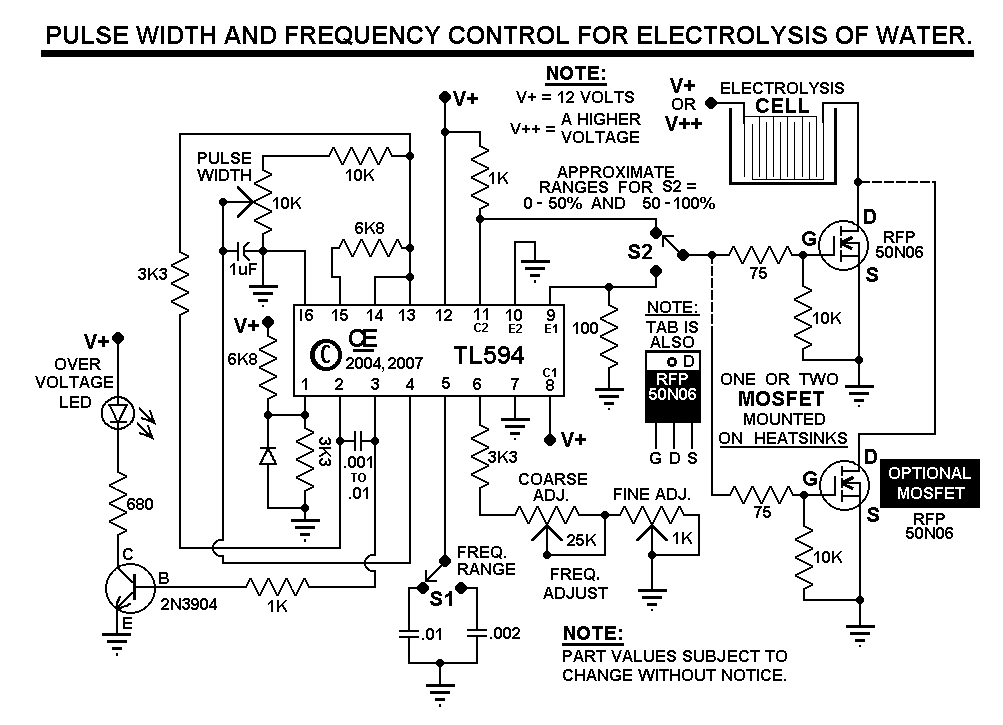 pulse width and frequency control for hho electrolysis