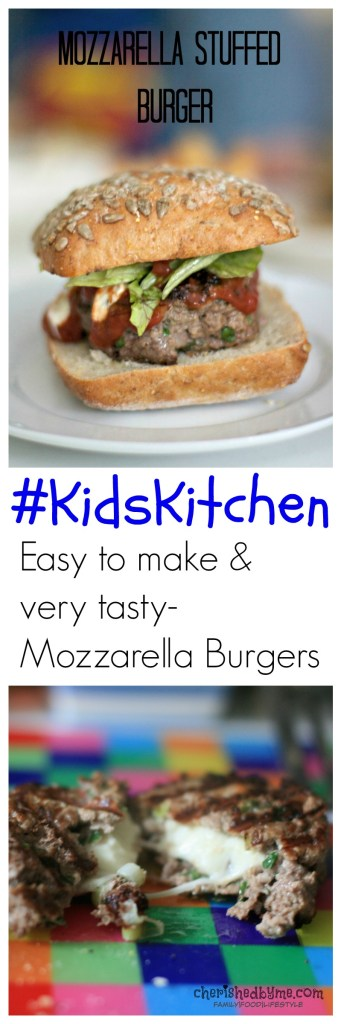 Get your children in the kitchen to make these easy and very tasty mozzarella stuffed burgers