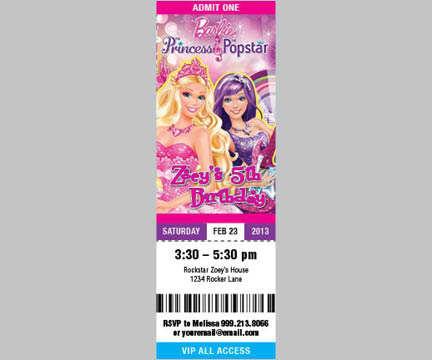 Ticket Style Invitation Cards - Cherish Moments - concert ticket birthday invitations