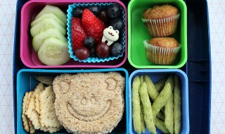 """""""Laptop Lunches with frog face sandwich and mini muffins"""" by  Melissa is licensed under CC BY 4.0"""
