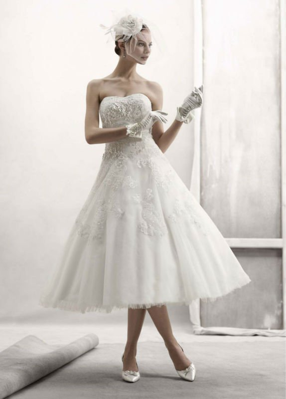 Vintage Strapless Lace Wedding Dress With Tea Length CherryMarry