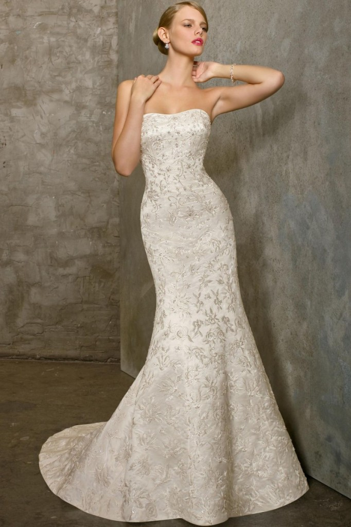 Vintage Strapless Lace Mermaid Wedding Dress With Floor