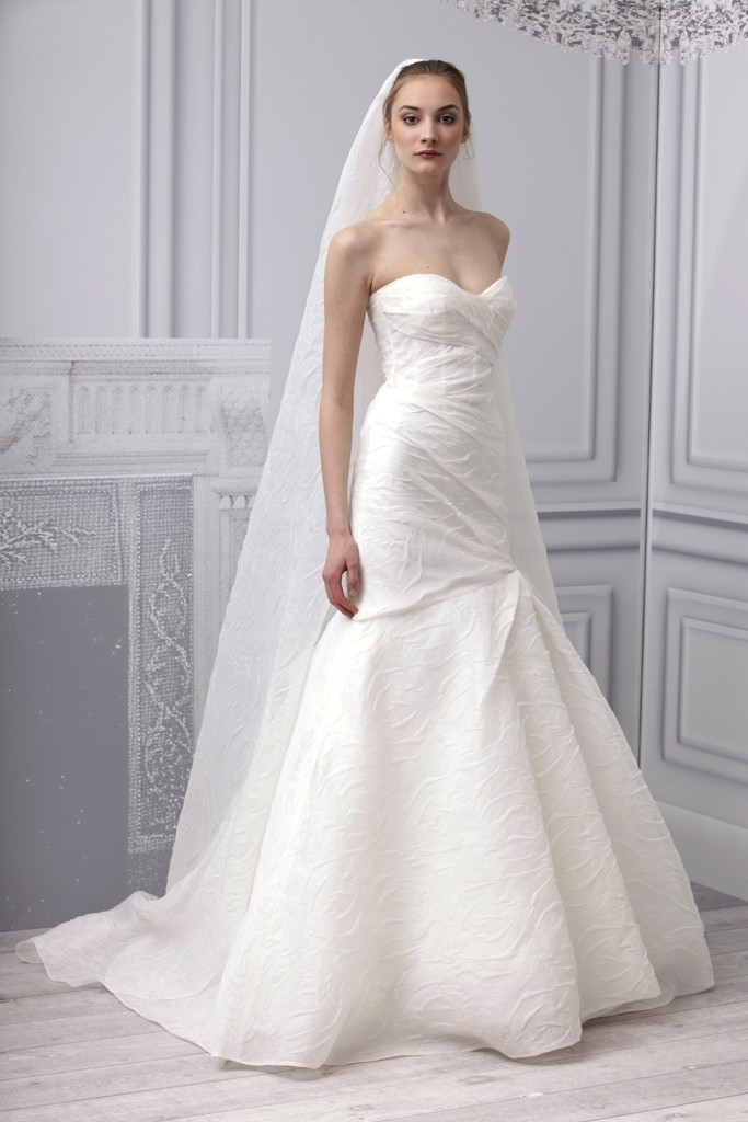 White Monique Lhuillier Mermaid Sweetheart Wedding Dress With Long VeilCherry Marry