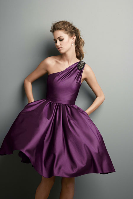 Short one shoulder purple bridesmaid dresscherry marry for One shoulder short wedding dress