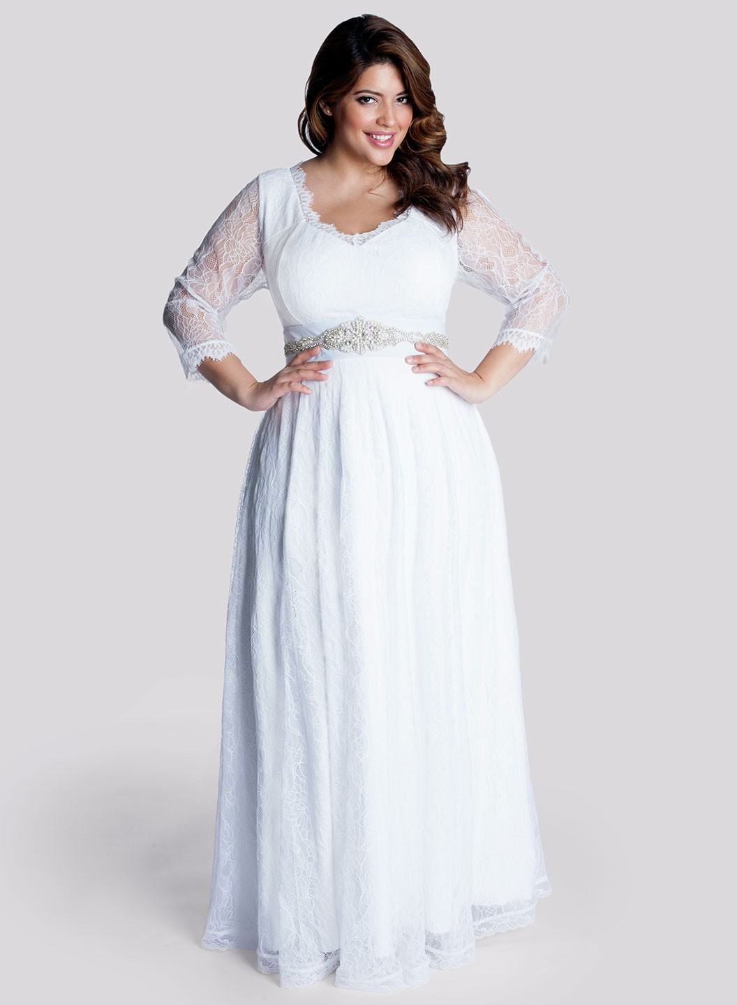 simple plus size wedding dress with long sleeves cherrymarry With long plus size wedding dresses