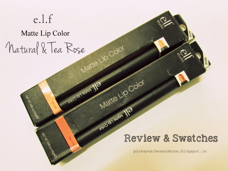 ELF Studio Matte Lip Color- Natural and Tea Rose| Review, Swatches and LOTD