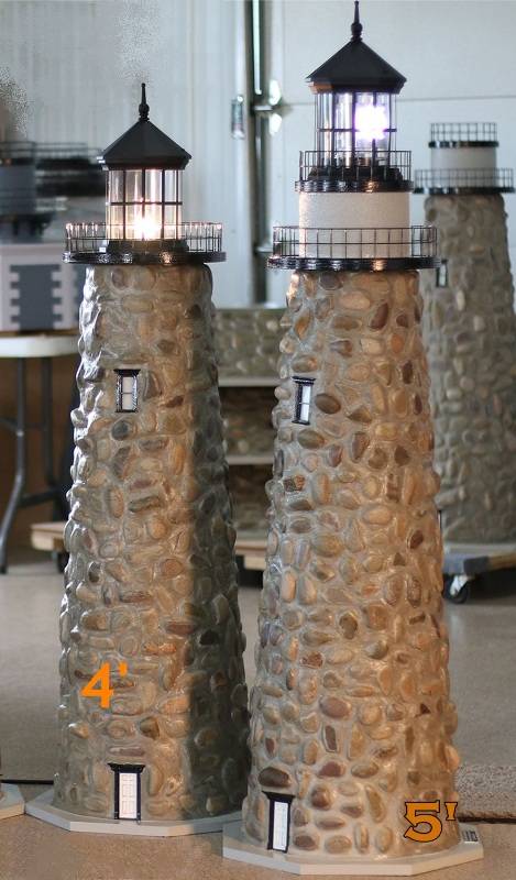 Solar Set Stone Lawn Lighthouses. Real Rock And Mortar Lighthouse