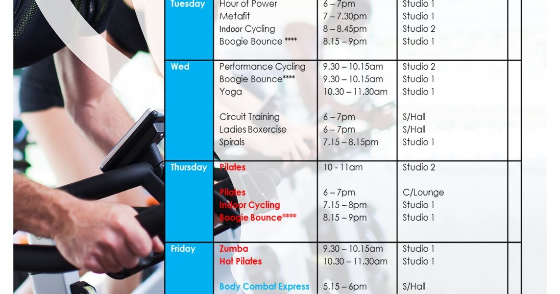NEW Fitness Class timetable u2013 The Cheshire - class timetable
