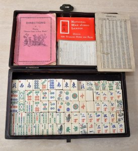 Vintage Leather Cased Mahjong Set