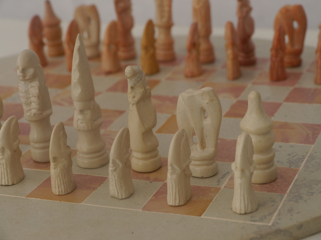 Round Chess Set Small African Tribal Marble Chess Set With Round Marble