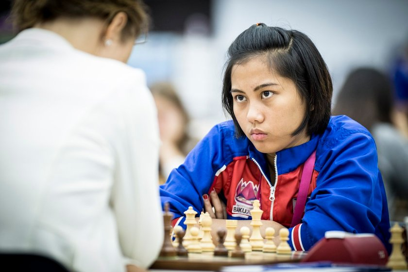 Philippine pride: Janelle Mae Frayna playing in Baku 2016 Chess Olympiad. Photo credit: David Llada