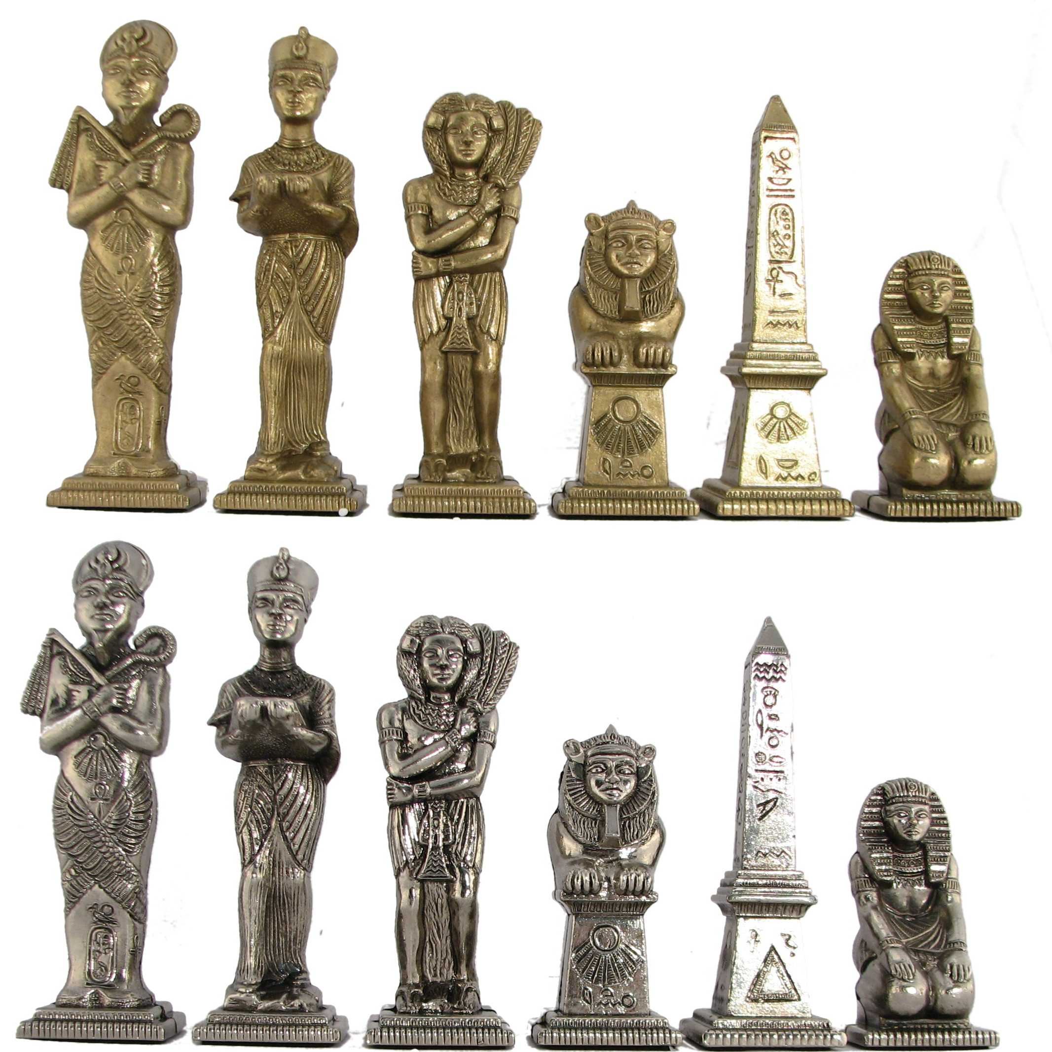 Steel Chess Pieces Ultraweight Egyptian Theme Metal Chess Pieces