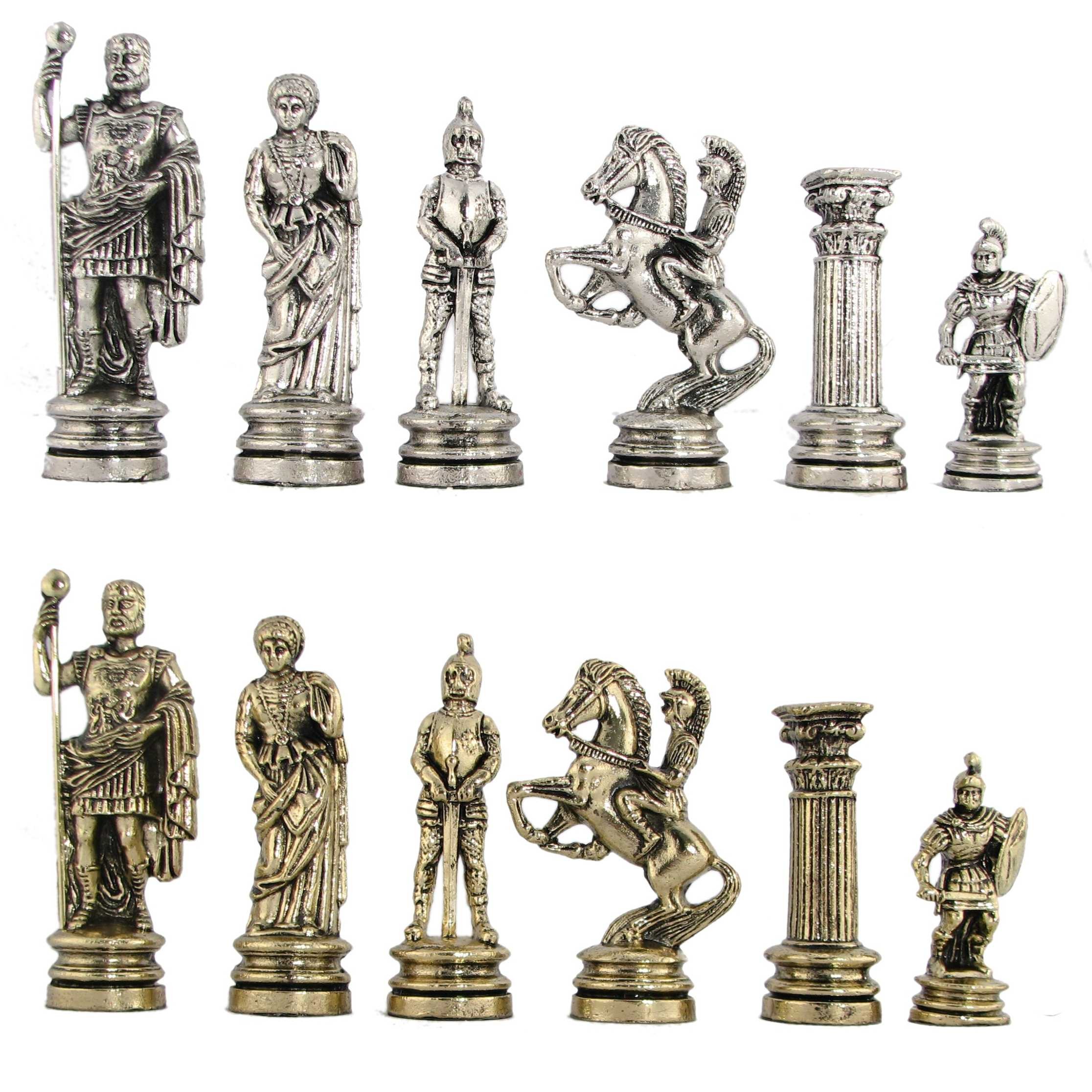 Steel Chess Pieces 4 1 2 Quot Roman Legion Metal Chess Pieces