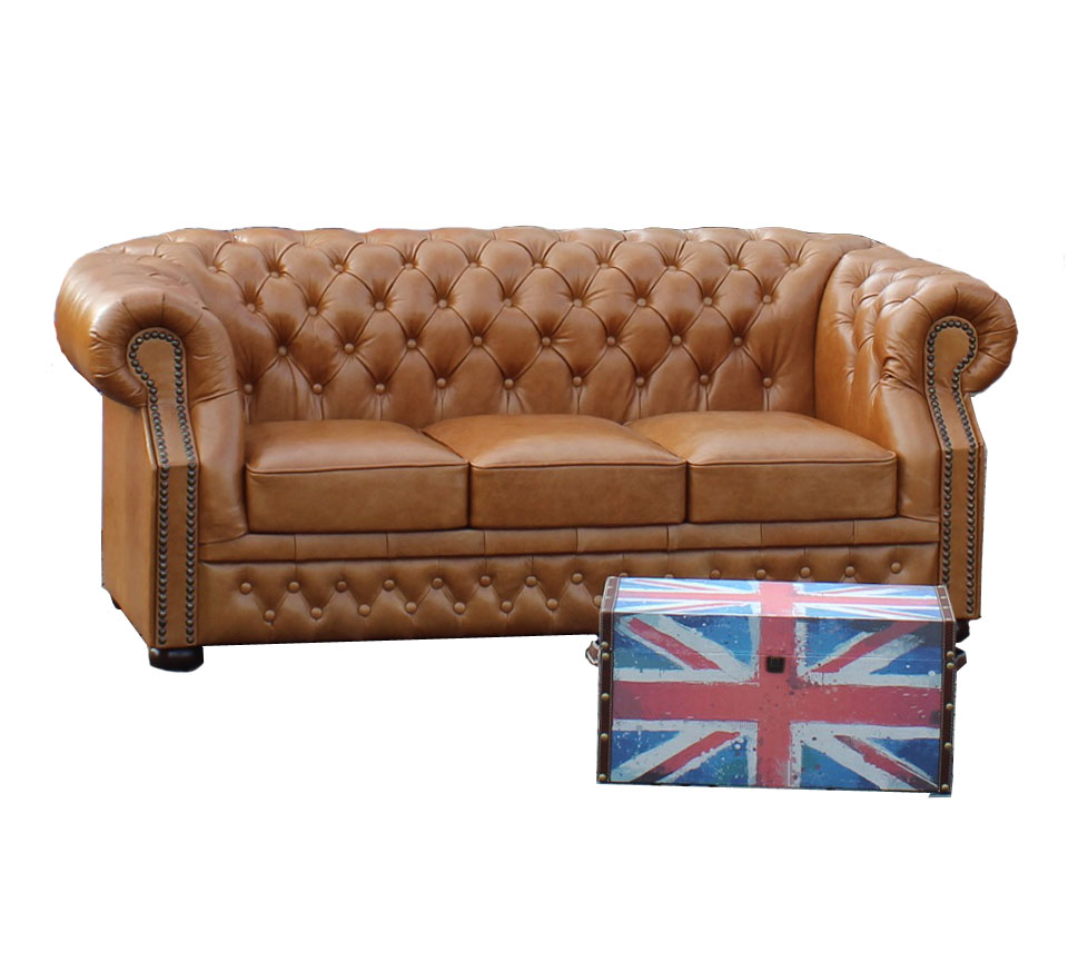 Ledersofa 3 Sitzer Chesterfield Windsor 3 Sitzer Ledersofa Hazelnut C12 Windsor3 C12