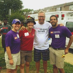 Former Philadelphia Eagles quarterback and TV sports analyst Ron Jaworski (third from left) was among the volunteers helping build a new playground. He posed here with KaBoom! staffer Maddie McClinton (left) and Project Manager Chris Hickey (right) and Jaimie McKenzie, of United Healthcare.